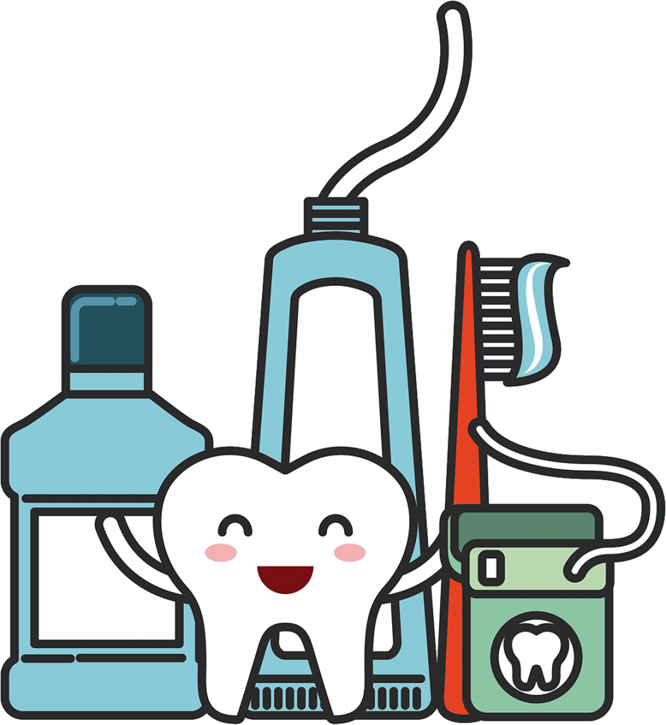 Illustration of a tooth and dental tools.